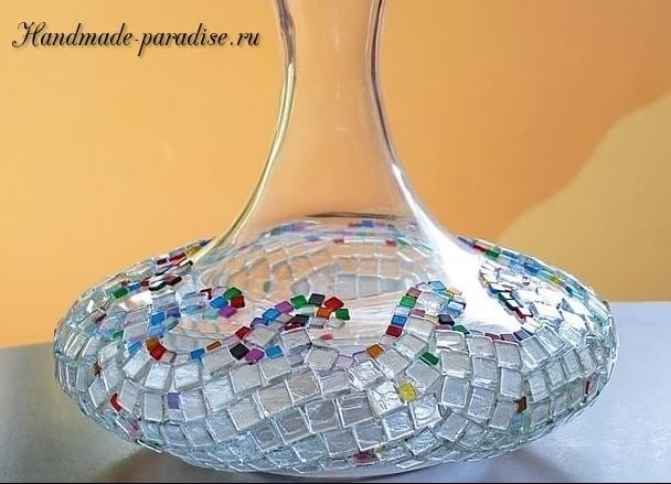 Декорирование вазы стеклянной мозаикой (15)