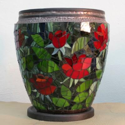 Декорирование вазы стеклянной мозаикой (16)