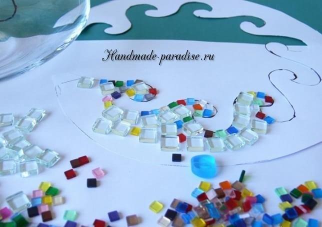 Декорирование вазы стеклянной мозаикой (8)