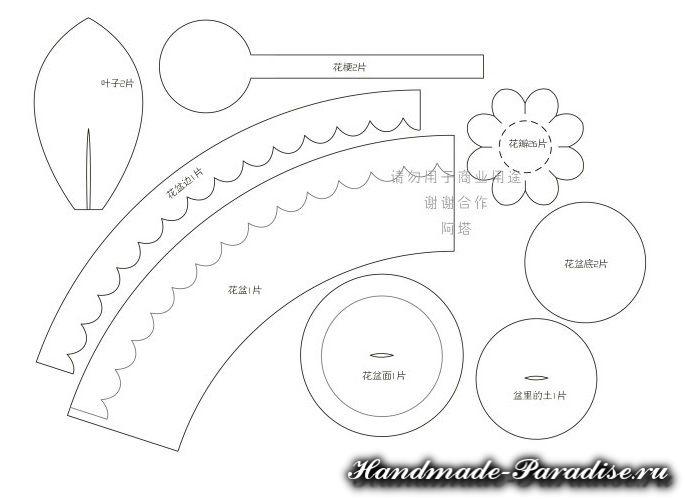 Гортензия в горшочке из фетра (8)