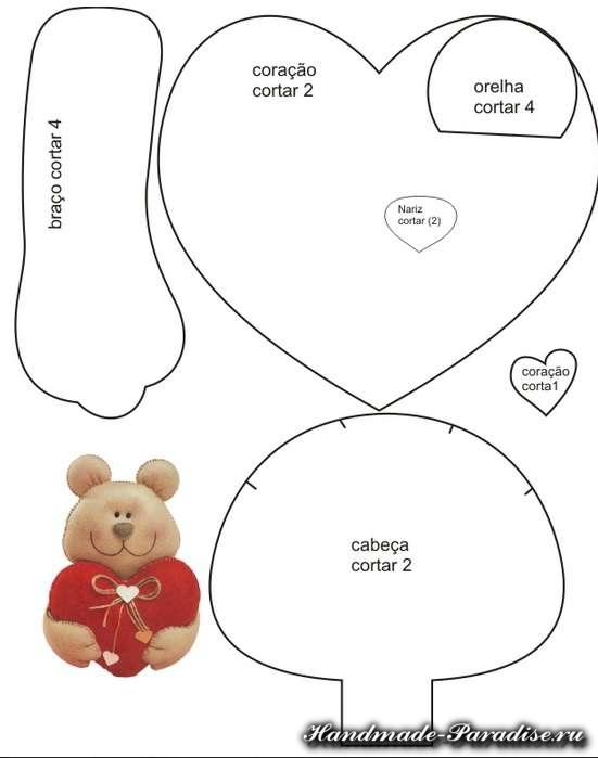 Выкройка подушки валентинки из фетра (7)