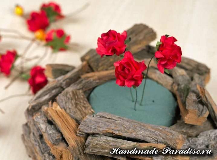 Кашпо для цветов из коры деревьев (4)