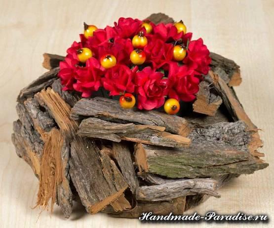 Кашпо для цветов из коры деревьев (5)