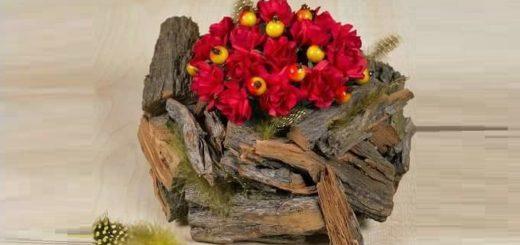 Кашпо для цветов из коры деревьев