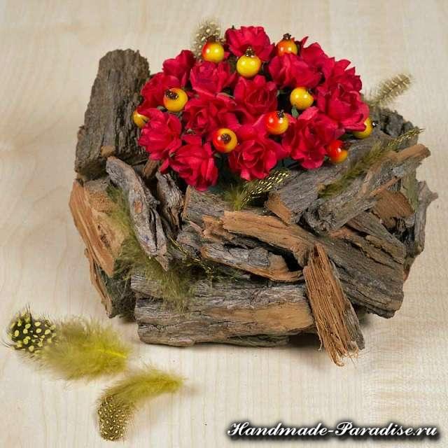 Кашпо для цветов из коры деревьев (6)