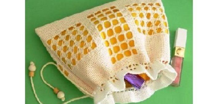 Косметичка своими руками с вышивкой мережкой