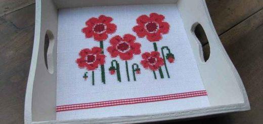 Маки - схема вышивки крестом