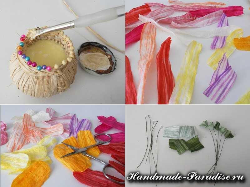 Мыльная корзинка с цветами из бумажной рафии (3)