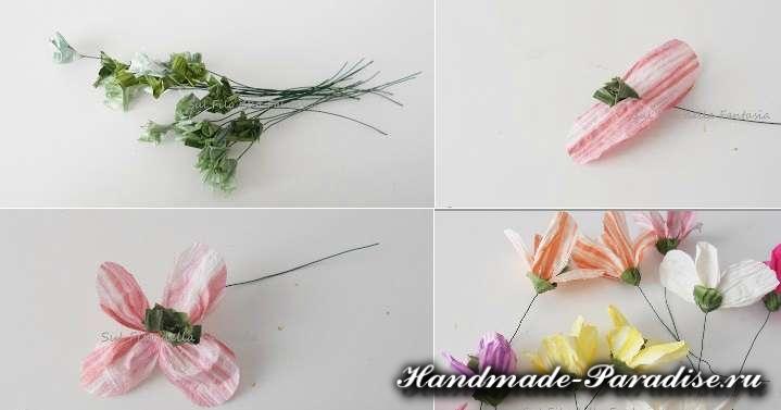 Мыльная корзинка с цветами из бумажной рафии (4)