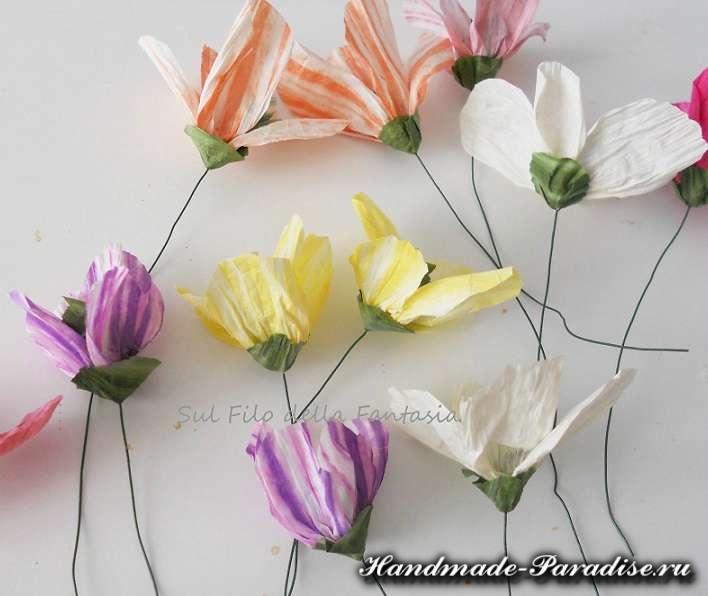 Мыльная корзинка с цветами из бумажной рафии (5)
