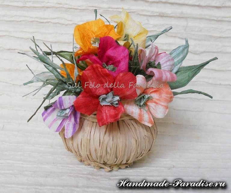 Мыльная корзинка с цветами из бумажной рафии (7)