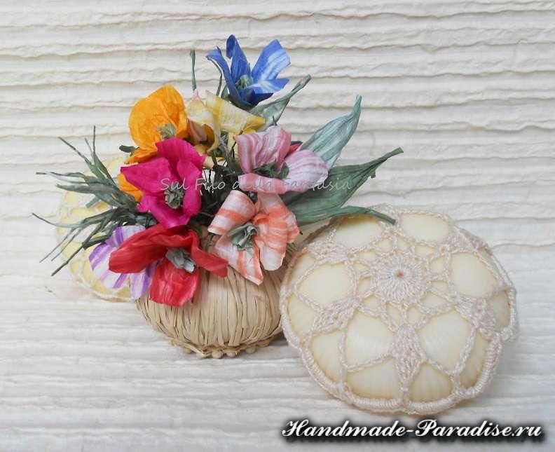 Мыльная корзинка с цветами из бумажной рафии (8)