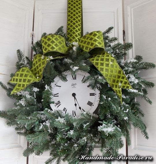 Новогодний венок с циферблатом часов