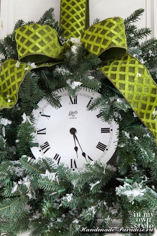 Новогодний венок с циферблатом часов (5)