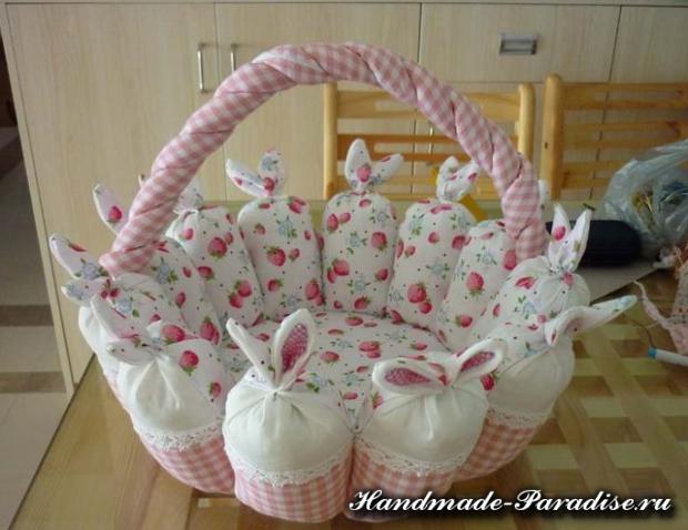 Пасхальные корзинки с кроликами из ткани (1)