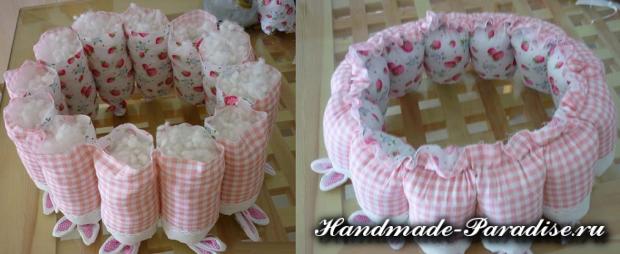 Пасхальные корзинки с кроликами из ткани (6)