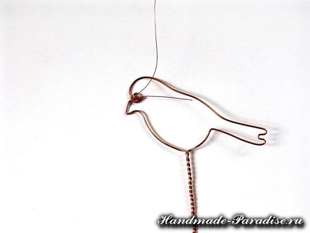 Птичка из проволоки и бисера (4)