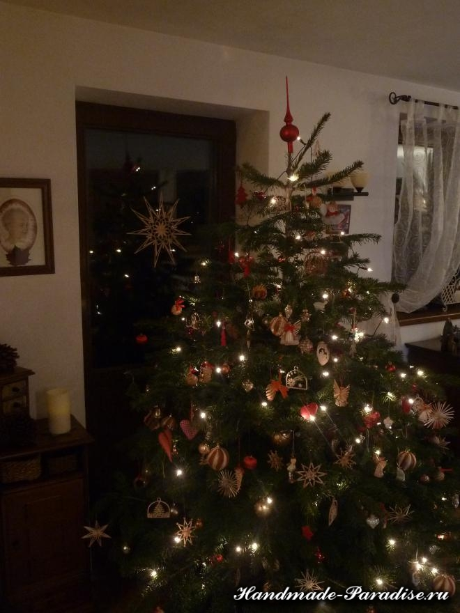 Рождественская звезда из соломки. Мастер-класс (29)