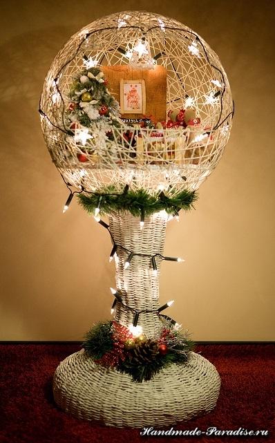 Рождественский светильник из газет и ниток (12)