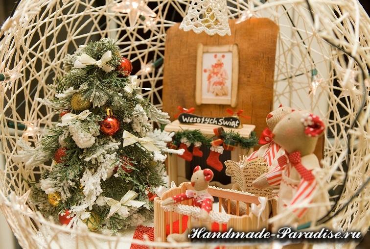 Рождественский подсвечник из газет и ниток (13)