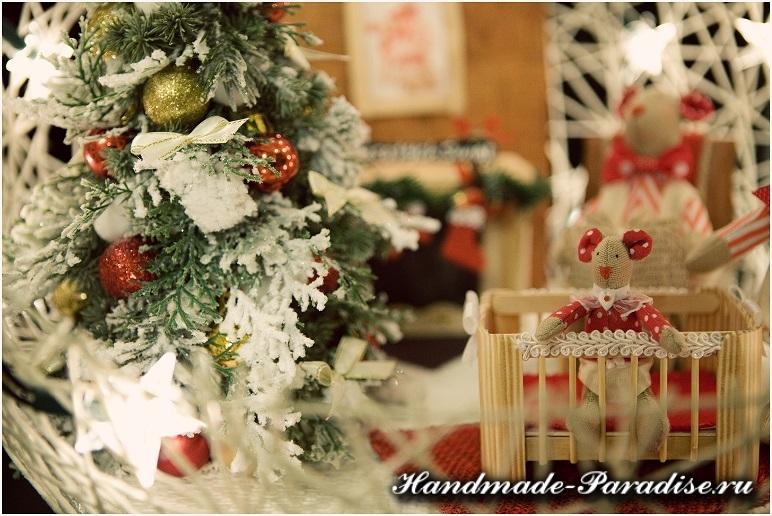 Рождественский подсвечник из газет и ниток (14)