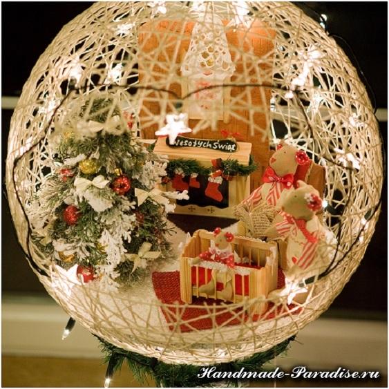 Рождественский подсвечник из газет и ниток (15)