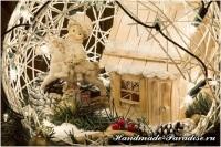 Рождественский подсвечник из газет и ниток (16)