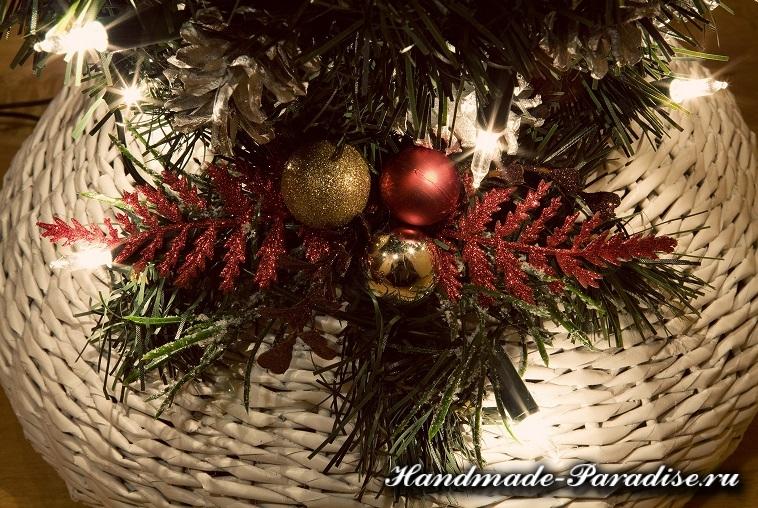 Рождественский подсвечник из газет и ниток (17)
