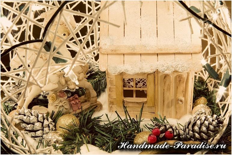 Рождественский подсвечник из газет и ниток (18)
