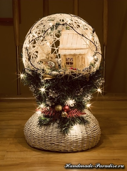 Рождественский светильникк из газет и ниток (3)