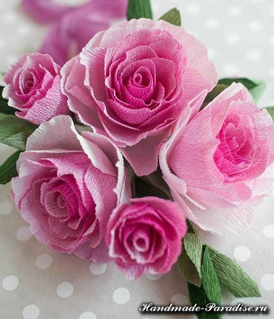 Розы из гофрированной бумаги. Мастер-класс (2)