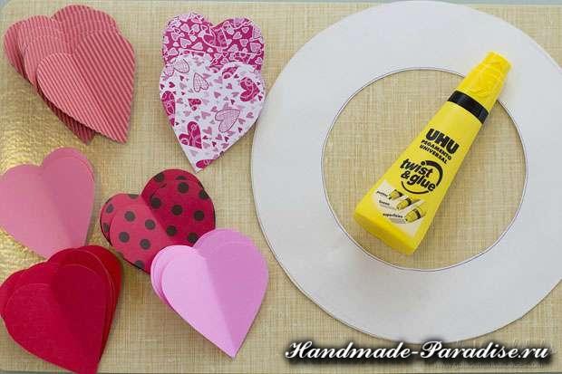 Венок из бумаги ко дню Святого Валентина (5)