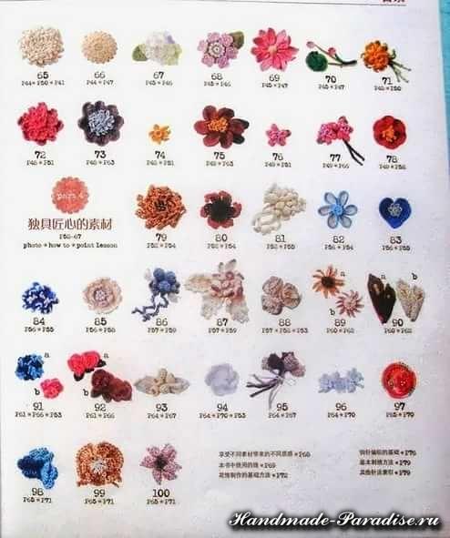Цветы крючком схемы вязания (5)