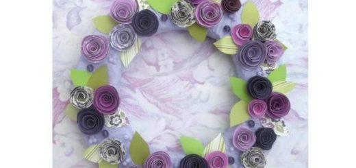 Венок в стиле Прованс с розами из бумаги