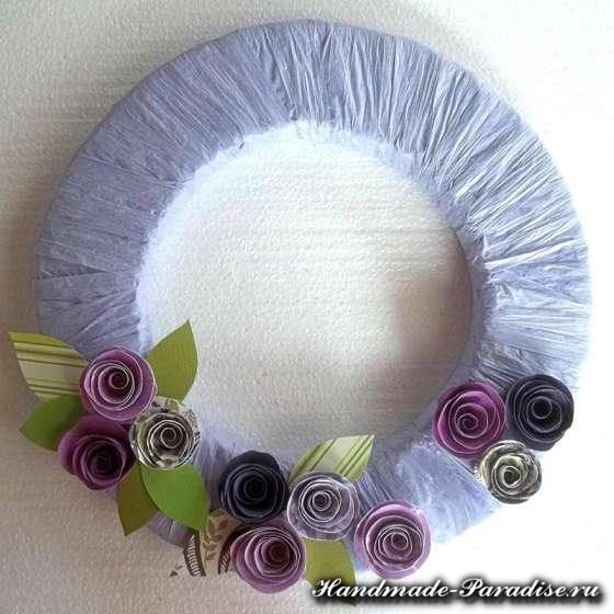 Венок в стиле Прованс с розами из бумаги (7)