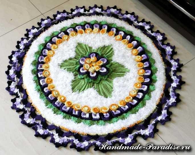 Вязание крючком ковриков с пряжей травка (10)