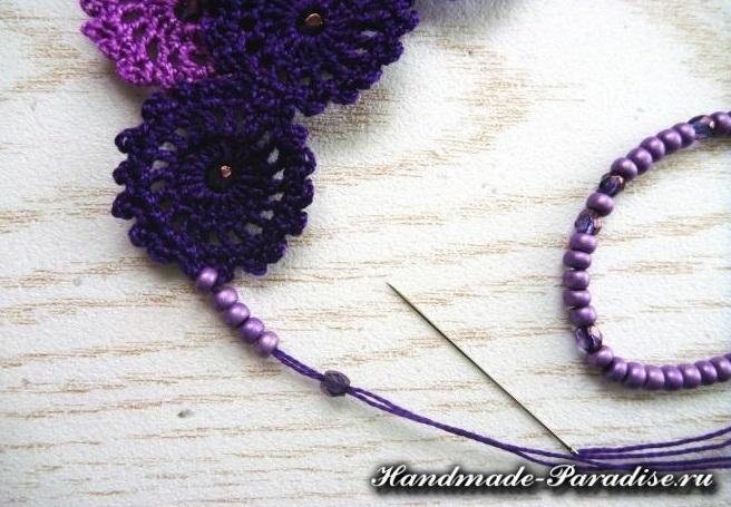 Как связать крючком ожерелье (4)