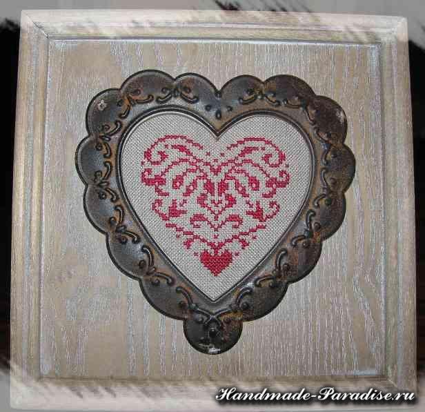 Винтажная вышивка ко дню Святого Валентина