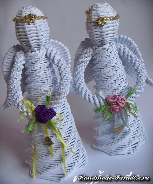 Плетение ангела из газетных трубочек