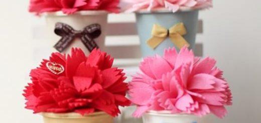 Декоративные горшочки с цветами из фетра