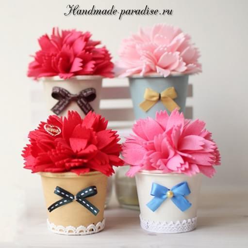 Декоративные горшочки с цветами из фетра (10)
