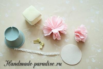 Декоративные горшочки с цветами из фетра (5)