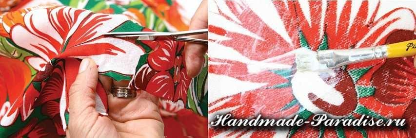 Декупаж тканью на плетеной корзинке (2)