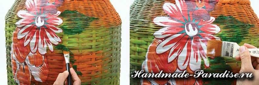 Декупаж тканью на плетеной корзинке (4)