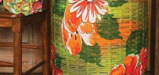 Декупаж тканью на плетеной корзинке