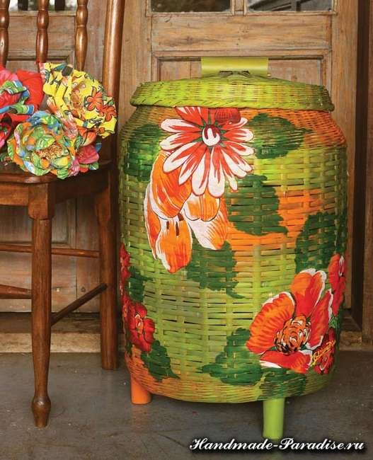 Декупаж тканью на плетеной корзинке (5)