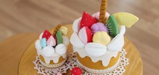 Фруктовый торт - шкатулка из фетра