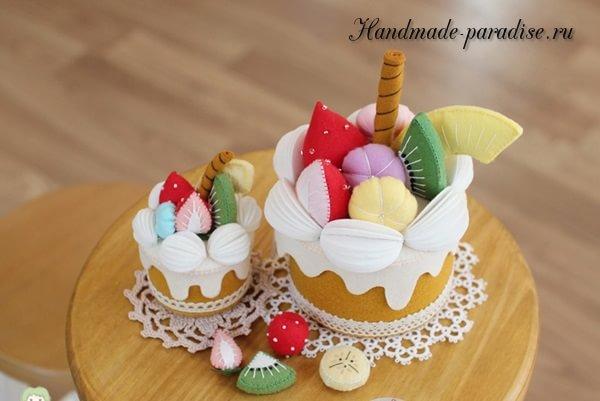 Фруктовый торт - шкатулка из фетра (7)