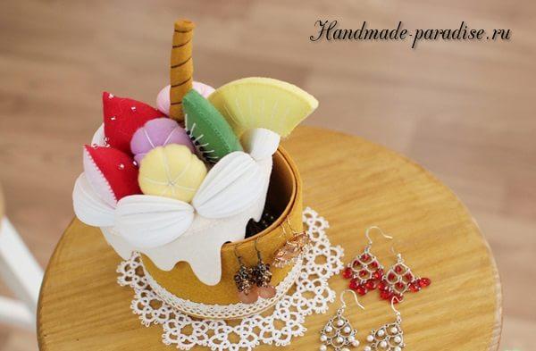 Фруктовый торт - шкатулка из фетра (8)