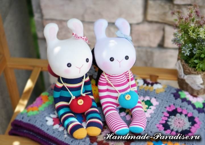 Игрушки из носков - КРОЛИКИ (3)